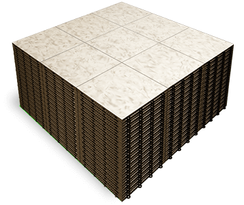 A stack of Luxury White Marble dance floor panels