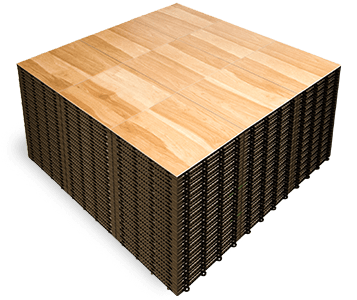 A stack of Maple dance floor panels