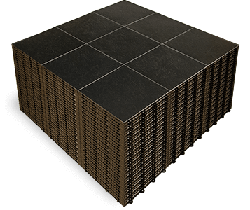 A stack of Slate Black dance floor panels