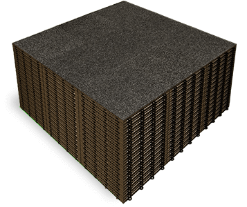 Stack of Snap-Carpet portable carpet tiles