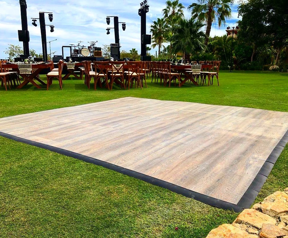 Smoked Oak style dance floor at an outdoor event