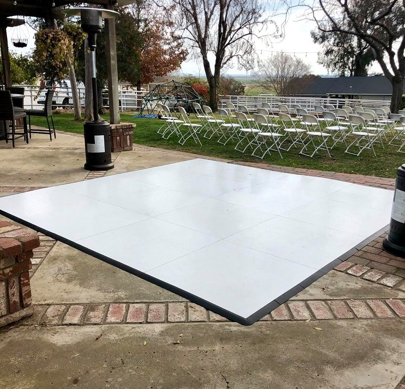 Slate White style SnapLock Plus dance floor ready for an outdoor event