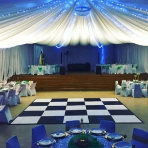 15' x 15' checkered Slate Black and White style wedding dance floor with edging
