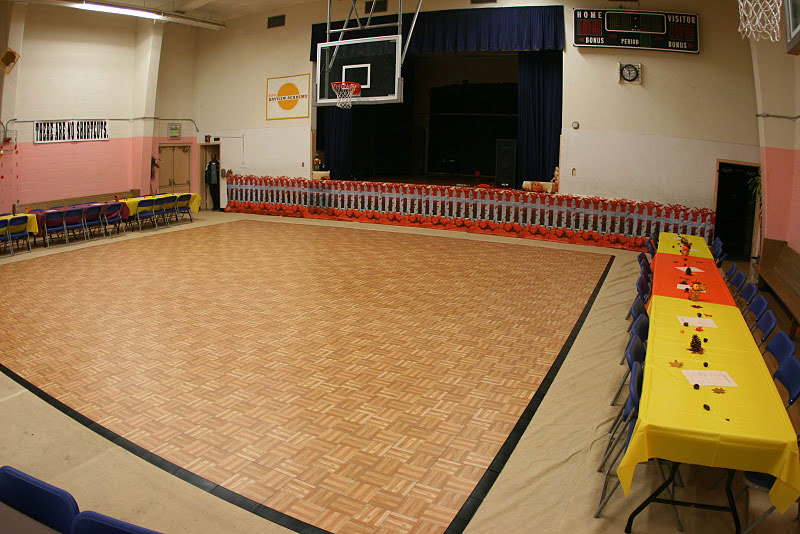 Oak portable dance flooring at school dance