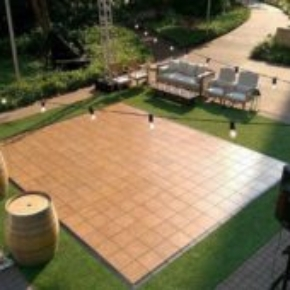 Overhead view of this Teak style dance floor at event