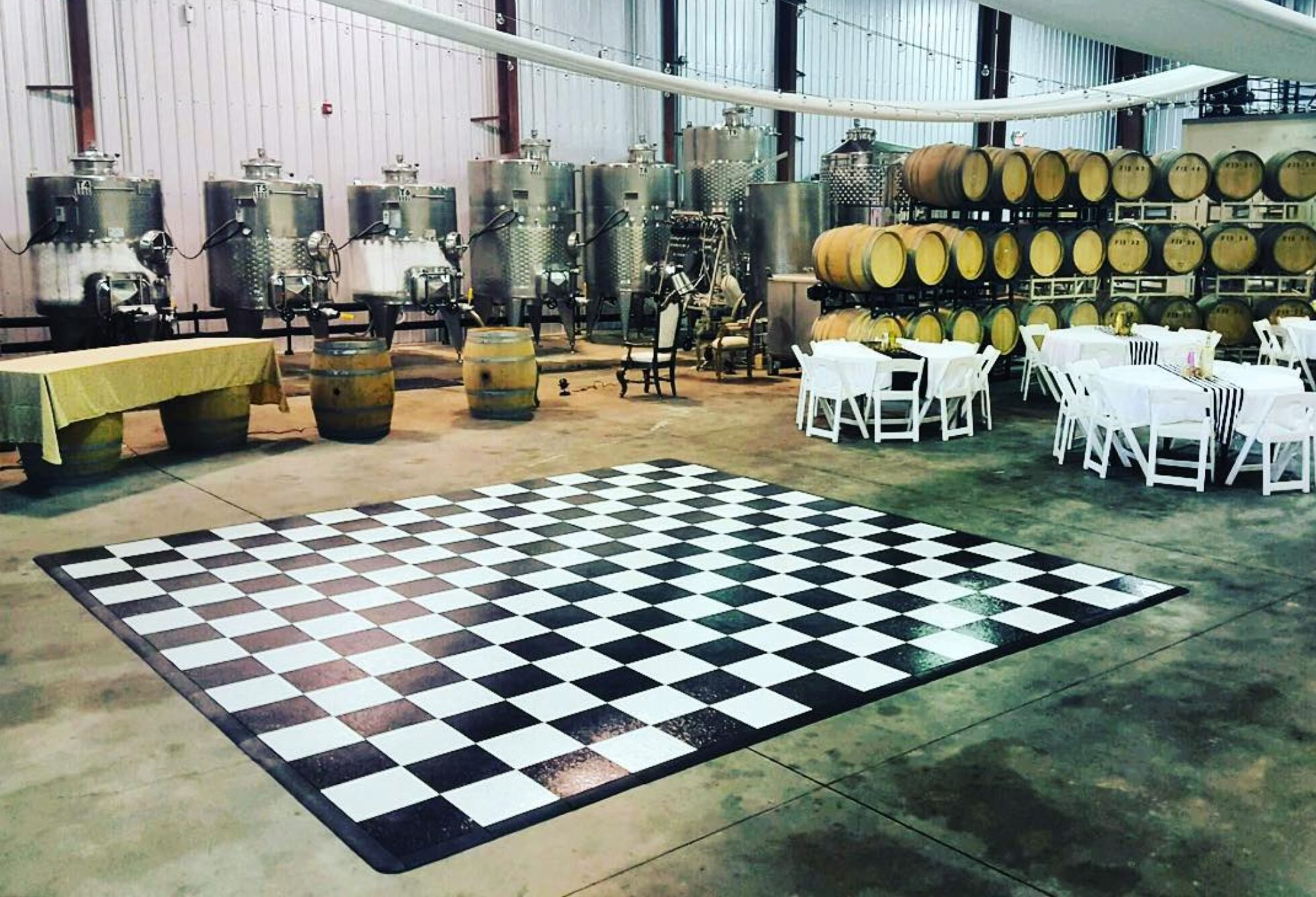 Black and White Slate style checkered dance floor with edging