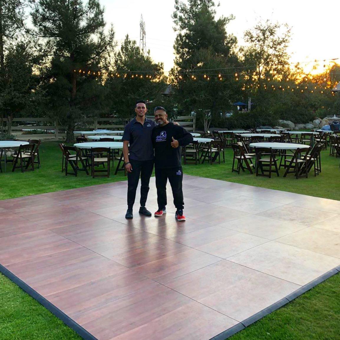 ASMDancefloors are ready for their customer's special event with SnapLock Plus Dark Maple flooring.