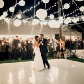 Slate White style dance floor shines at this beautiful wedding.