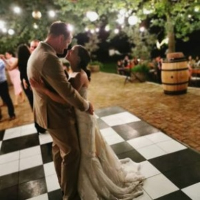 Outdoor wedding with Slate Black and Slate White style dance floor