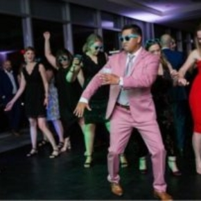 Partying on Slate Black style dance flooring