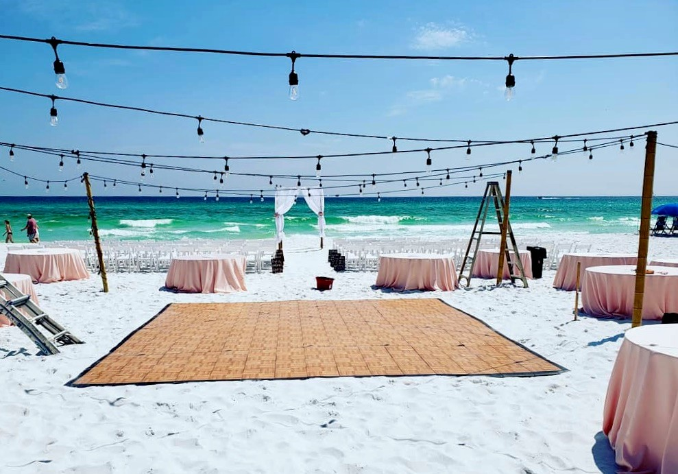 Oak style dance floor at a beach wedding event