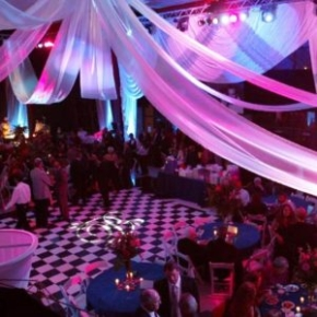 Classic checkered Slate Black and Slate White style dance flooring at an indoor event