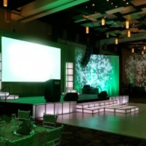 Slate White dance floor in this hotel event space in Trinidad