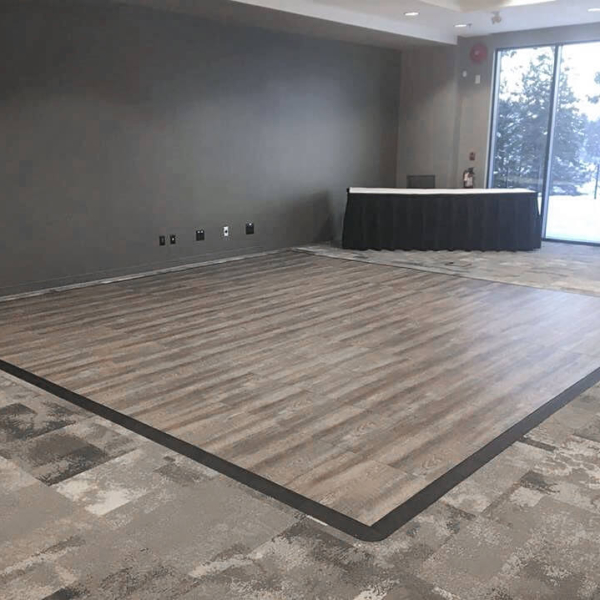 Smoked Oak 8 by 8 dance floor with edging