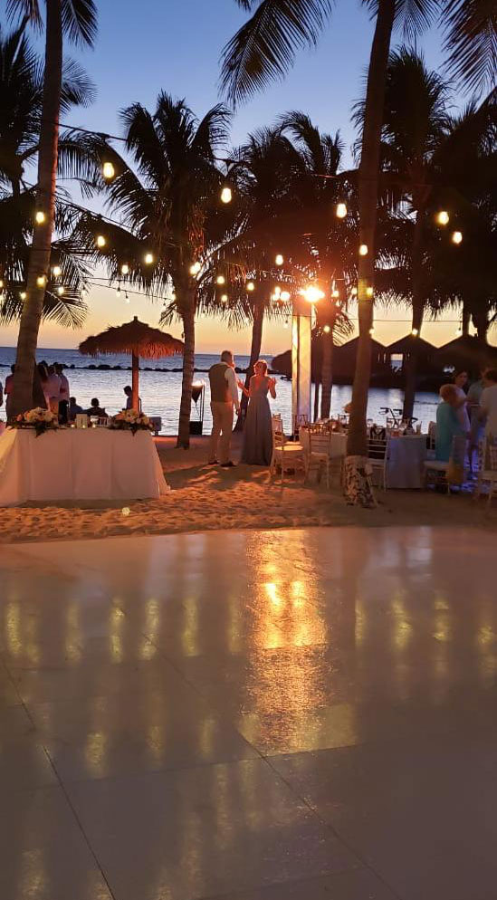 The slate white dance floor looks great at weddings.