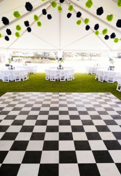 Checkerboard pattern Black and White Slate dance floor at a tent event