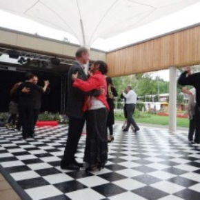 black and white checkered portable dance floor