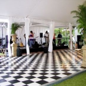 black and white slate checkerboard dance floor portable with band