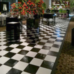Slate Black and White checkered walkway with edging