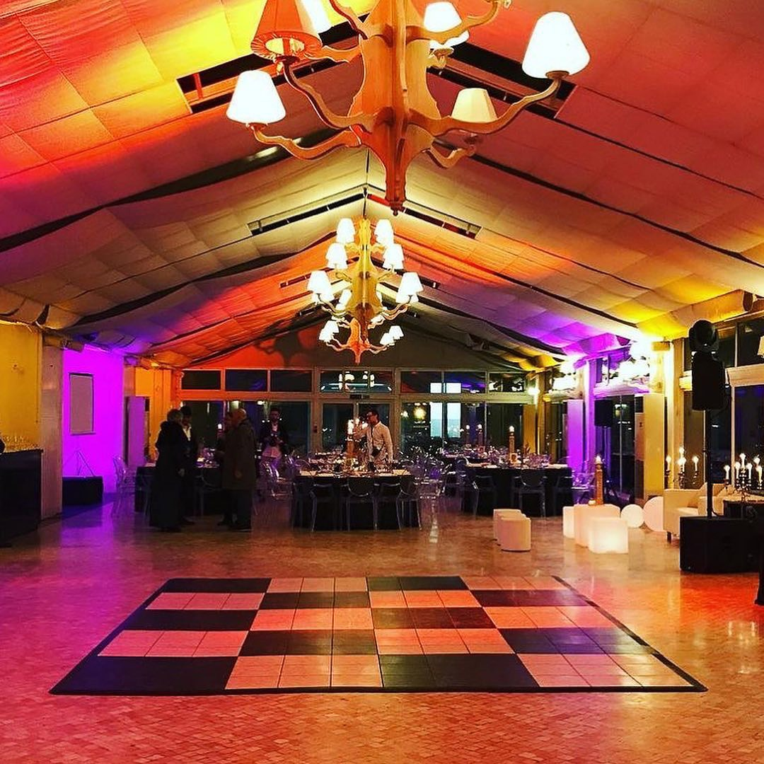 12' x 12' Luxury Marble style black and white dance floor at event