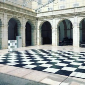Checkered dance floor with Luxury Marble style flooring