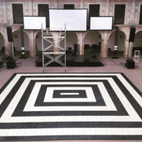 Setting up event with Luxury Marble style black and white dance floor