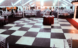Luxury Black and White Marble dance floor at a tent wedding