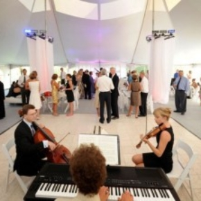 Luxury white marble portable dance flooring with chamber music