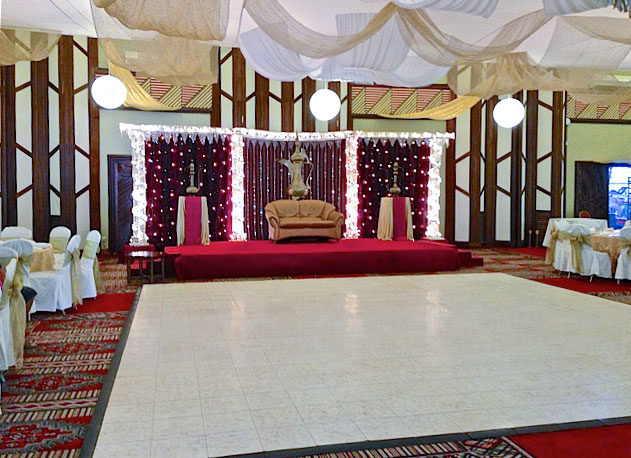 Luxury White Marble Dance Floor at an indoor wedding