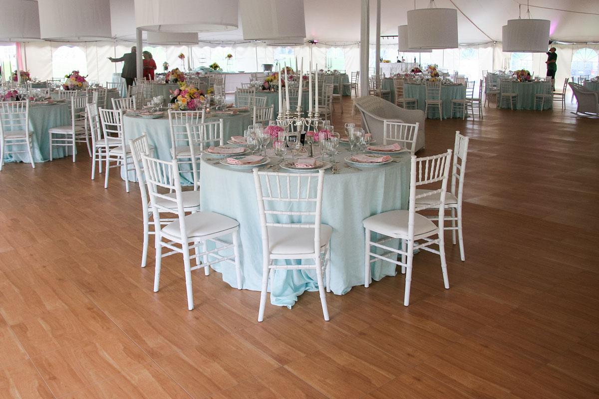 tent wedding with portable dance floor banquet