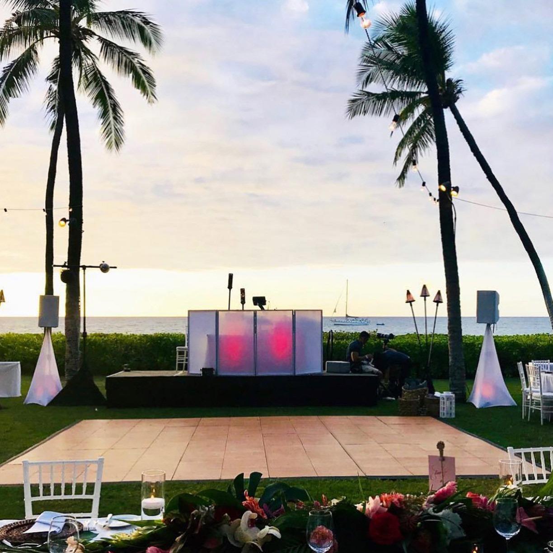 Wood style wedding dance floor outdoors