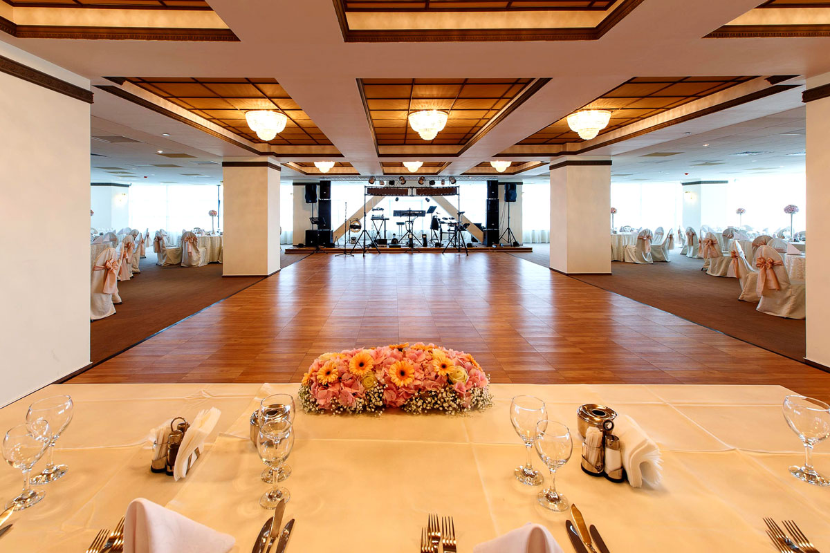 reception hall with durable portable dance floor