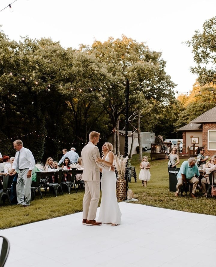 Backyard wedding with Slate White style dance floor