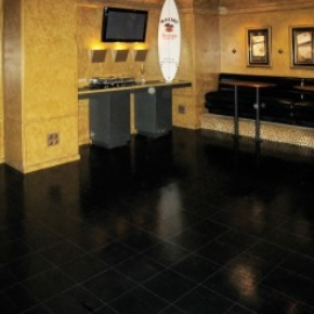 Our Slate Black flooring system makes this space look professional.