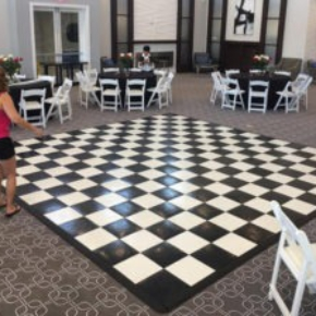 Checkered slate black and white 15' x 15' dance floor