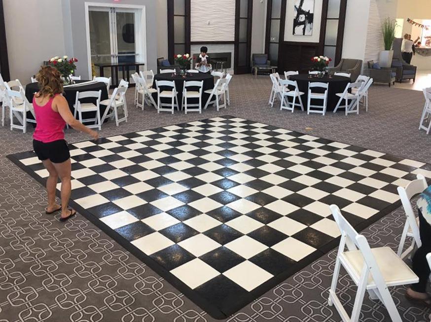 Checkered slate black and white 15' x 15' dance floor