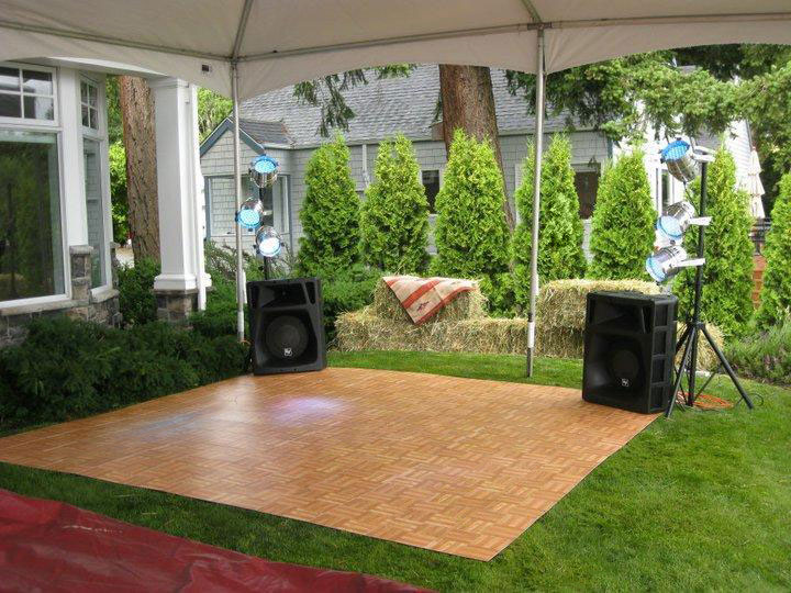 Small Oak Dance Floor on grass