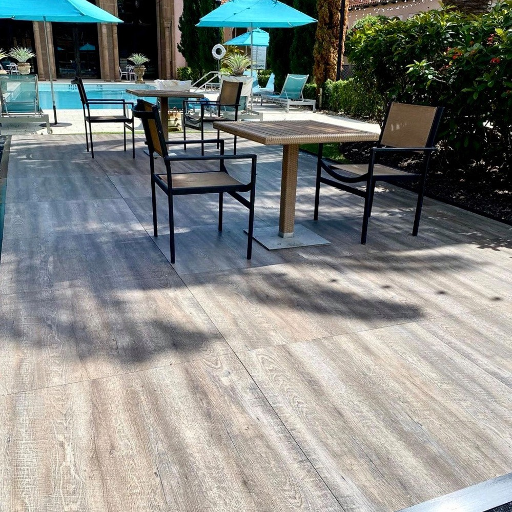 Smoked Oak Plus flooring near the pool at the Waldorf Astoria in Boca Raton