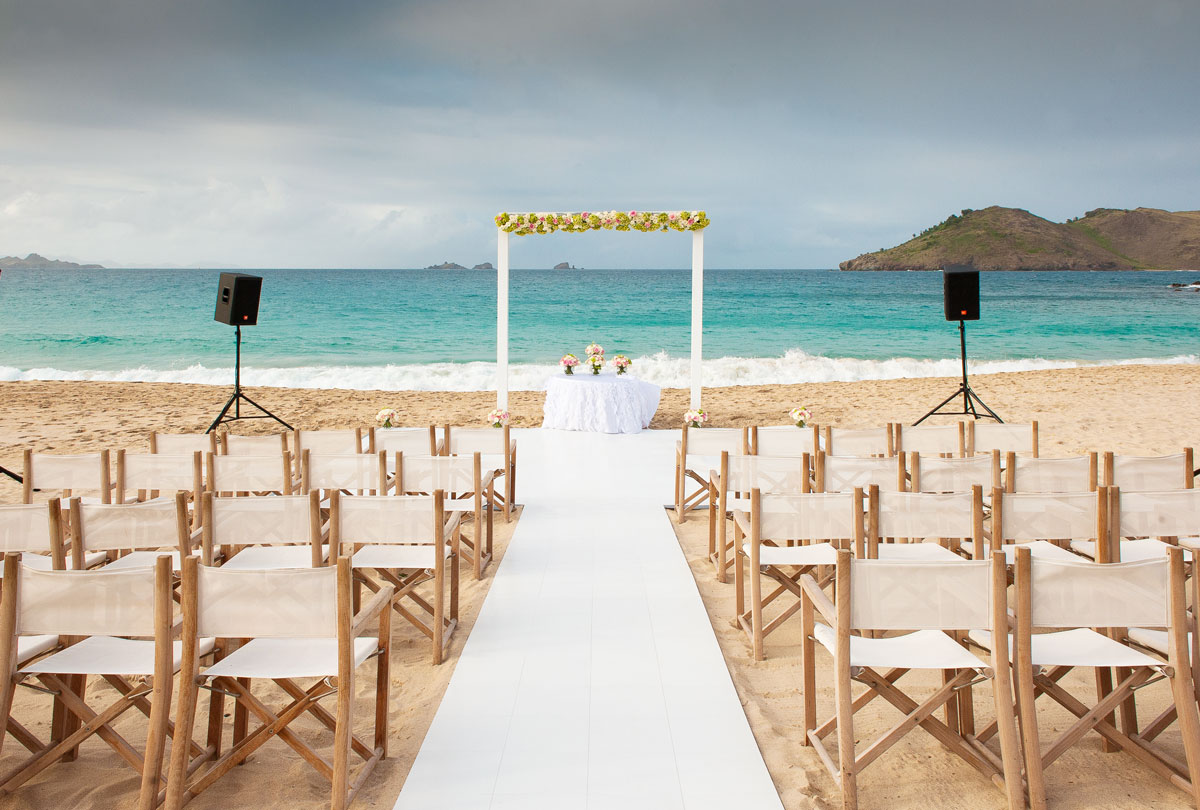 ST. Bart's destination wedding Slate White Dance Floor walkway