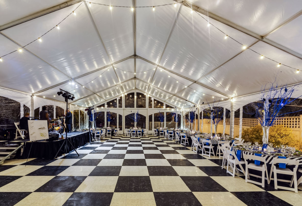 Tent interior with a Luxury White and Black Dance floor