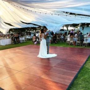 Outdoor wedding dance on a Dark Maple Plus dance floor