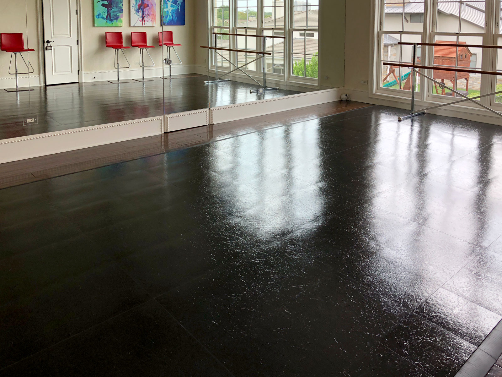 Slate Black dance floor with edging in this tap studio