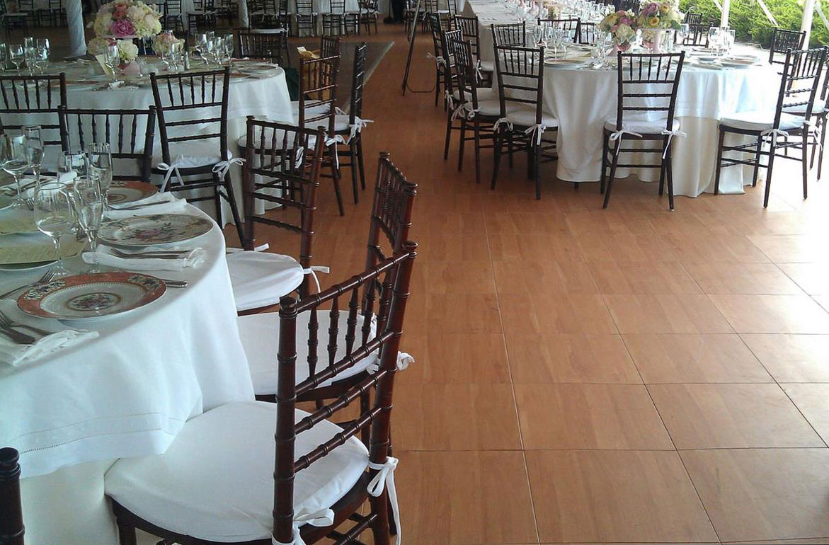 Event space with tables on Maple Plus flooring