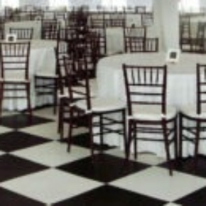 Black and white checkered tent with Base Floor and a separate SnapLock Dance Floor