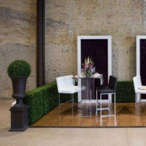 Sleek seating area with Teak-style flooring and finished edges.