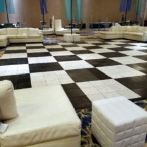 Black and White luxury marble style flooring in this indoor area