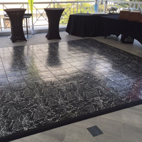 12 foot square Basic Black Marble dance floor with edging