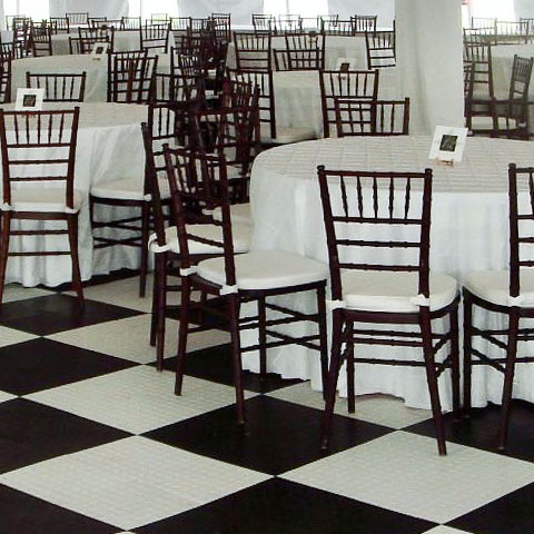 Black and white base floor in a tent event