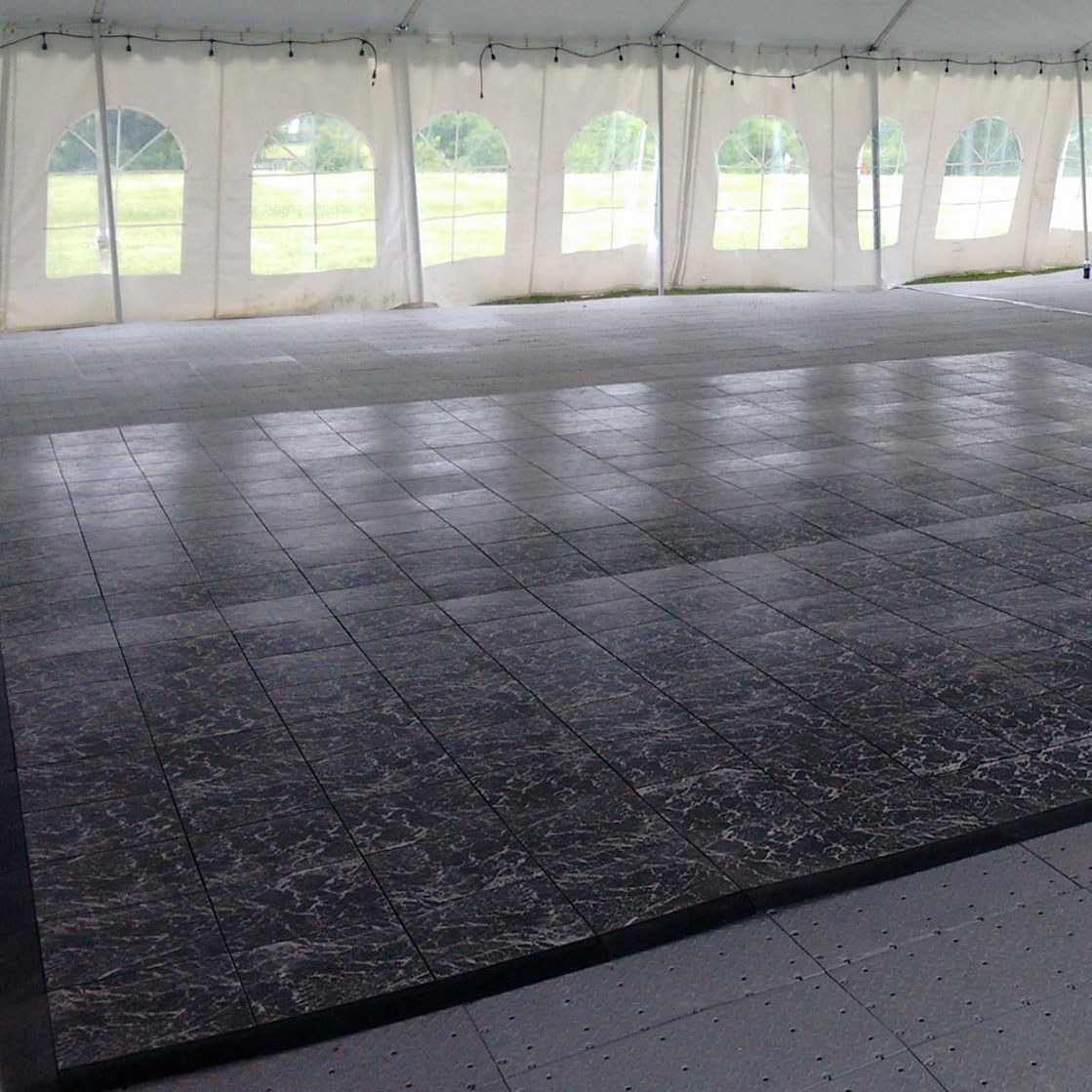 Basic Black Marble over FastDeck flooring at a tent event