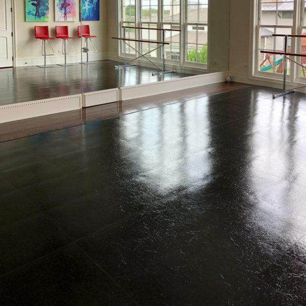 Slate Black Dance Floor in a tap dance studio
